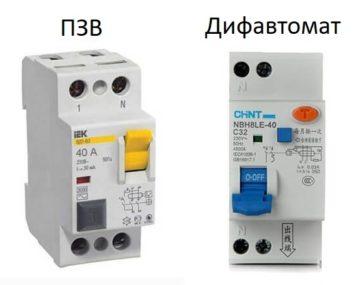 Відмінність Дифавтомату від ПЗВ (дифреле)